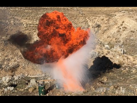 Dropping a Can of Liquid Oxygen Into Burning Oil 1