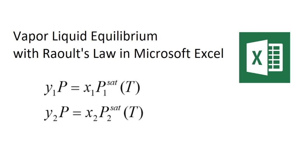 Raoult's Law Vapor Liquid Equilibrium Solved with Excel 2