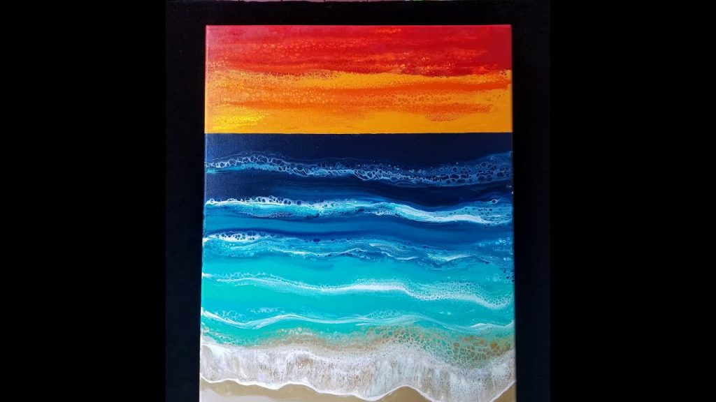 """Hapuna Beach"" Sunset Controlled Swipe  ~~~~Paint Pouring  🙂🎨 2"